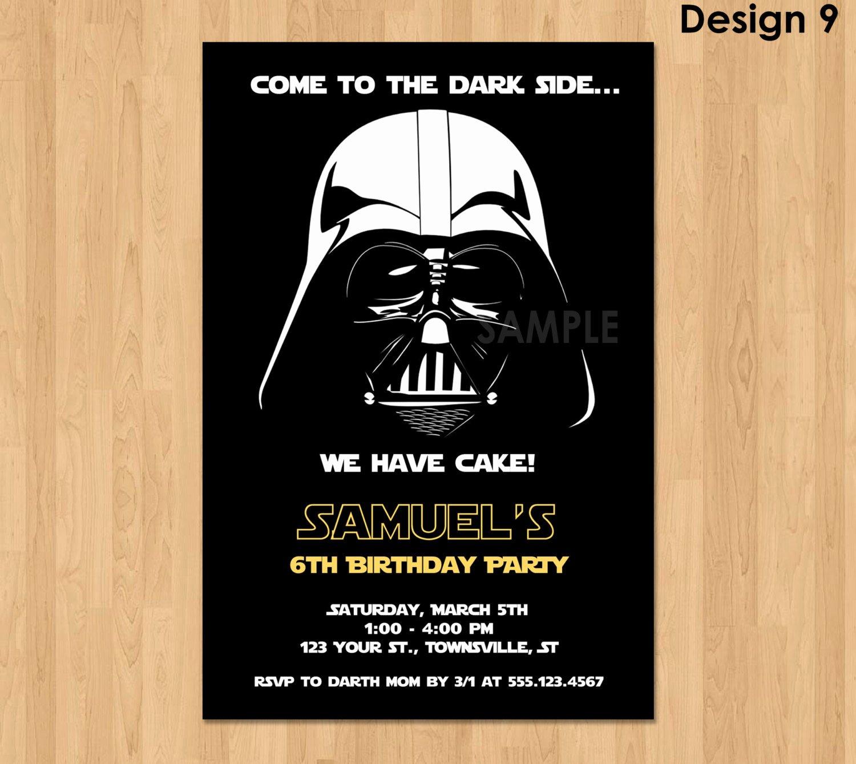 Star Wars Birthday Party Invitations Elegant Darth Vader Invitation Star Wars Birthday Invitation Star
