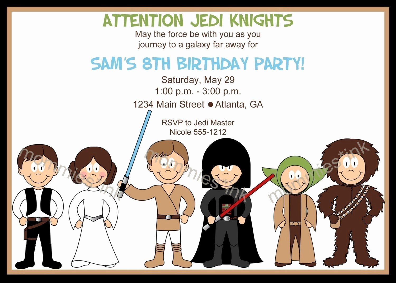 Star Wars Birthday Party Invitations Inspirational Star Wars Inspired Birthday Invitation Horizontal or