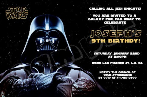 star wars birthday promo invitation