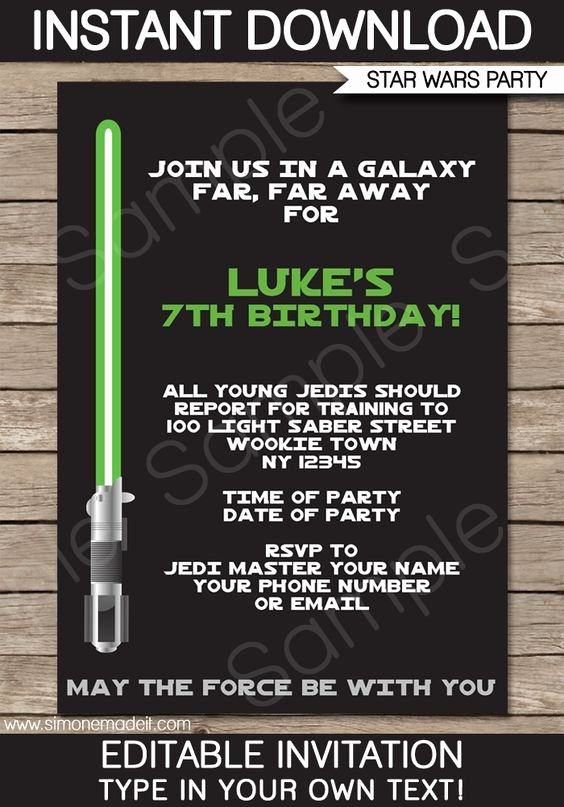 Star Wars Invitation Templates Unique Star Wars Party Invitations Template – Green Blue Red