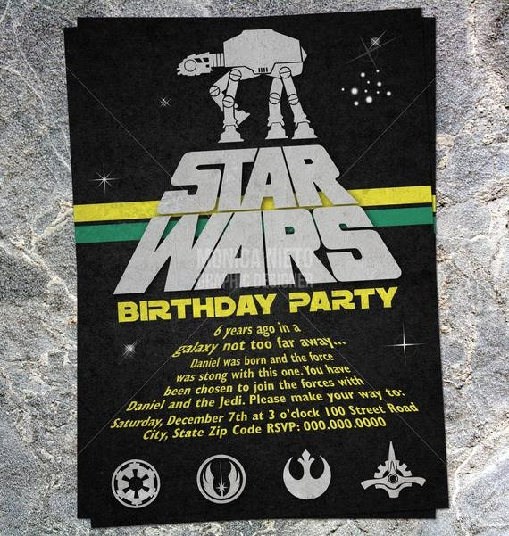 Star Wars Party Invitation Awesome Printable Star Wars Inspired Birthday by Monicagraphicdesign
