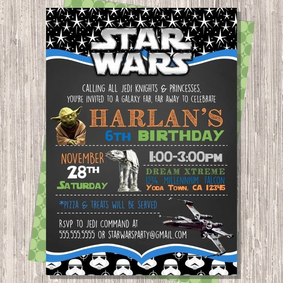 Star Wars Party Invitation Fresh Star Wars Invitation Star Wars Birthday Invitation Star Wars