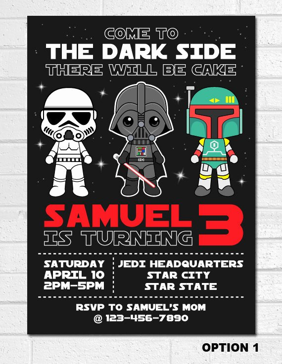 Star Wars Party Invitations Fresh Star Wars Invitation Star Wars Birthday Invitation Darth