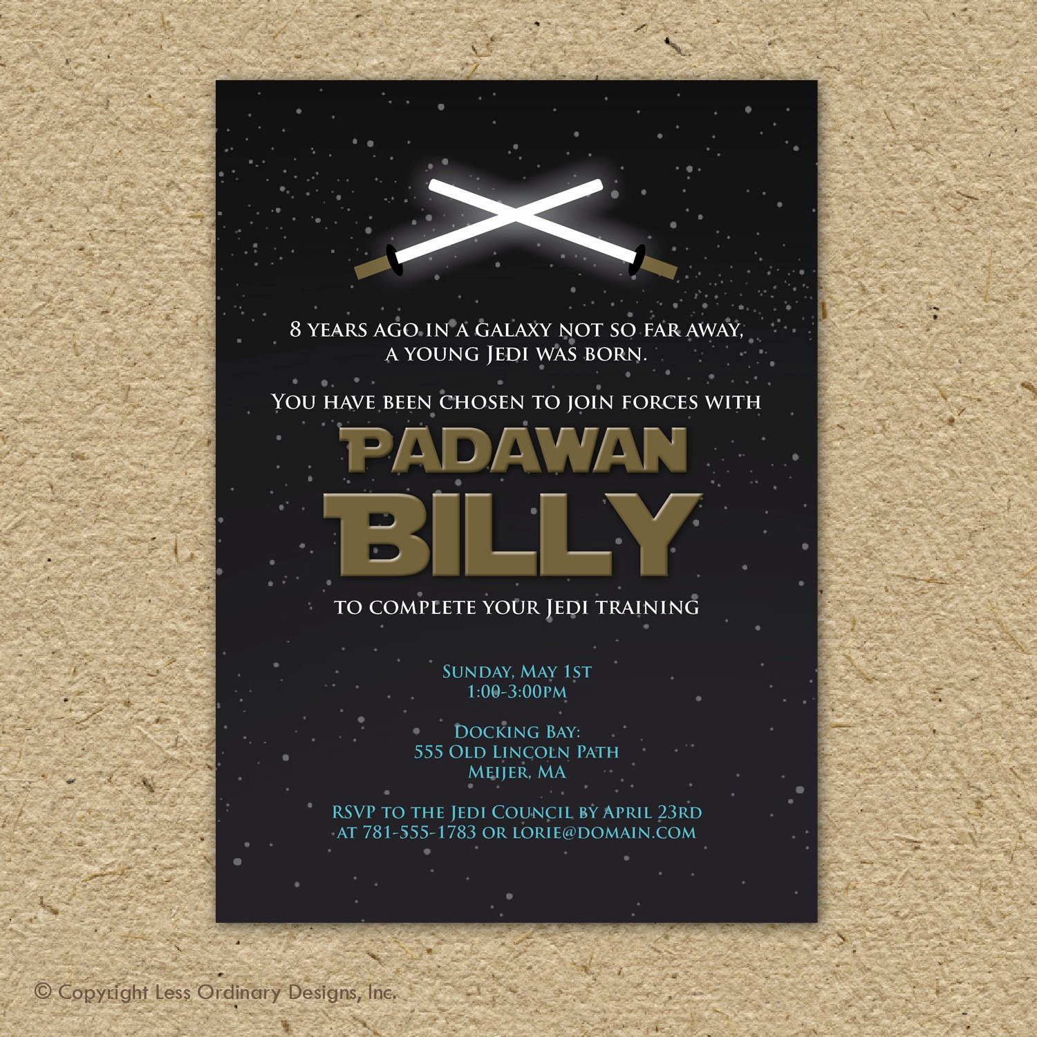 star wars birthday party invitation star