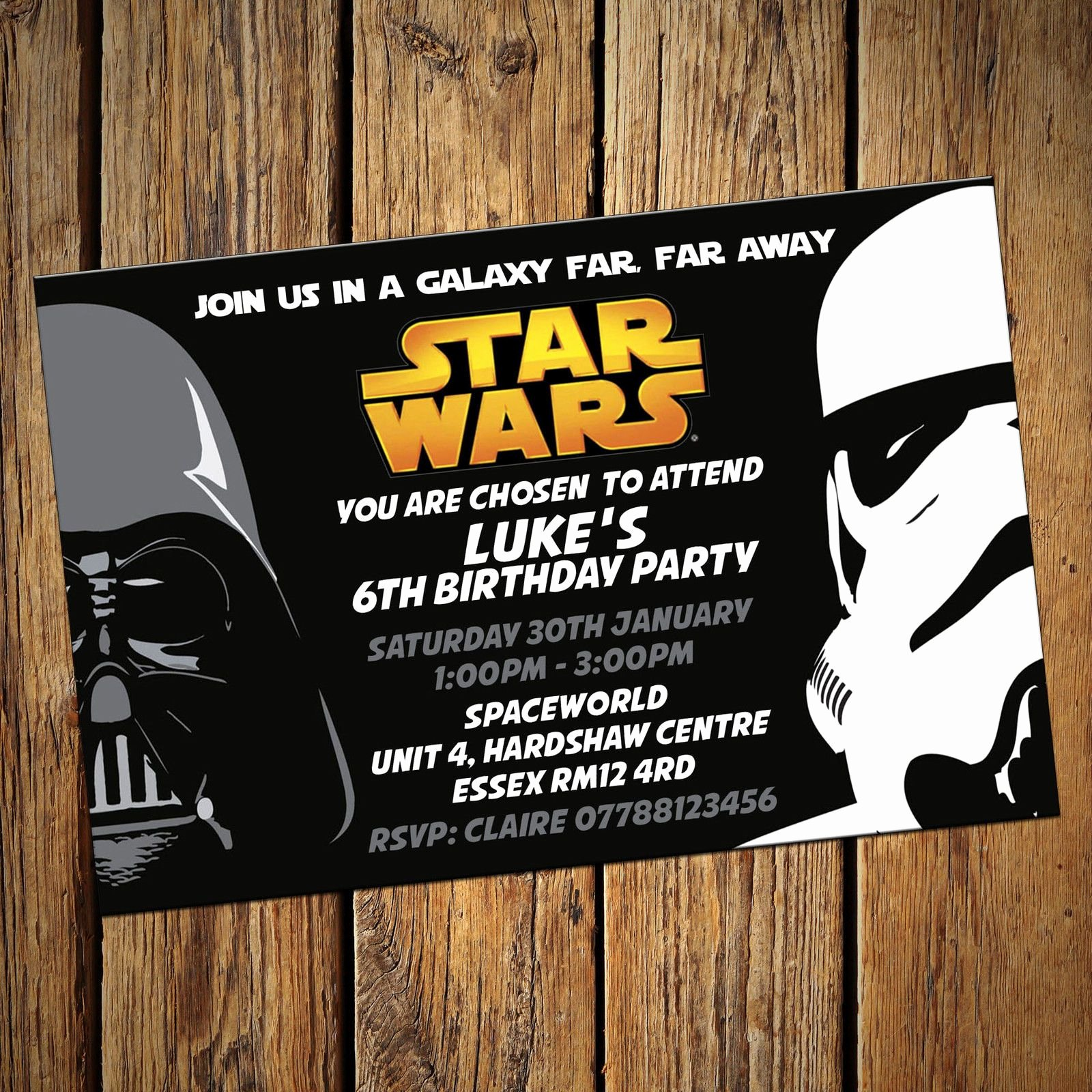 Star Wars Party Invitations New Star Wars Personalised Party Invitations Birthday Invites Free Envelopes Ics