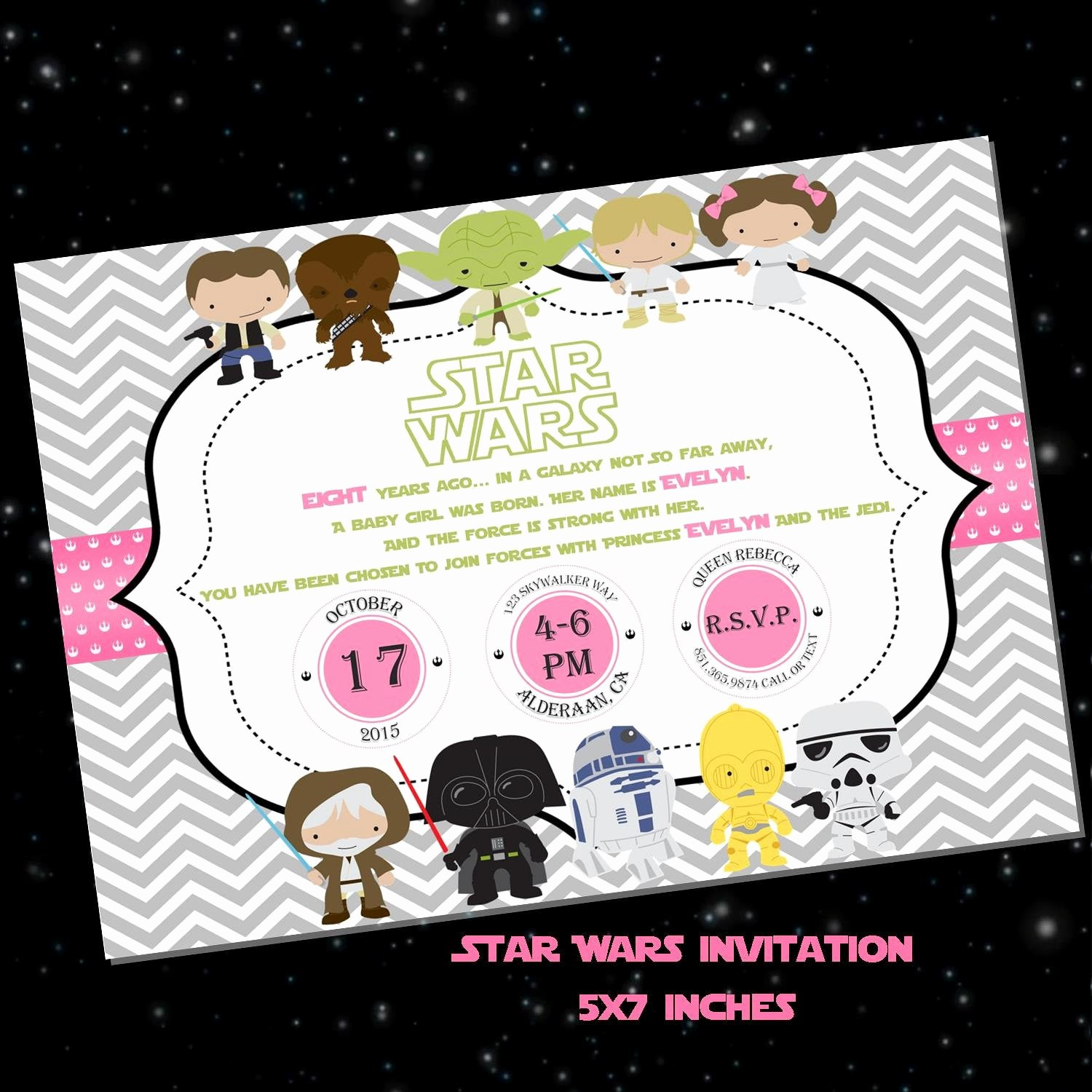 Star Wars Personalized Birthday Invitations Awesome Pink Star Wars Birthday Invitation Chevron Personalized