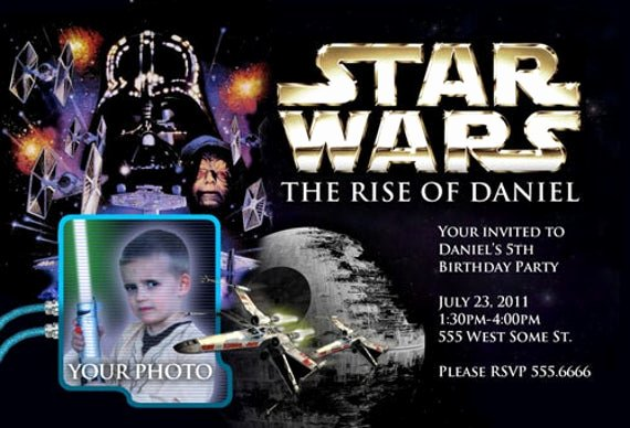Star Wars Personalized Birthday Invitations Awesome Star Wars Birthday Invitations Invite Custom W Picture
