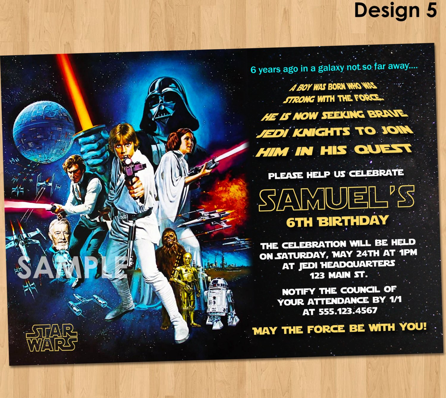 star wars birthday invitation star wars