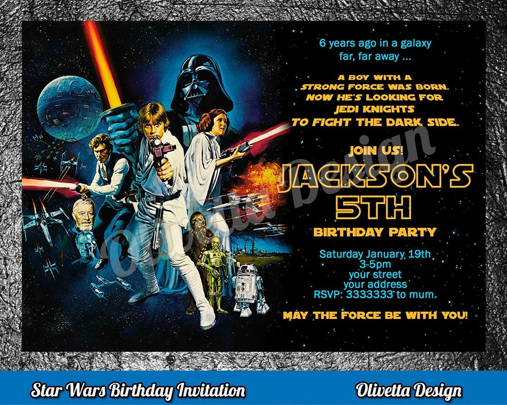 Star Wars Personalized Birthday Invitations Beautiful Star Wars Birthday Invitation Star Wars Invitation Birthday
