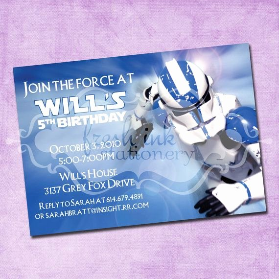 Star Wars Personalized Birthday Invitations Best Of Star Wars Storm Trooper Birthday Invitation by Freshinkstationery $1 40