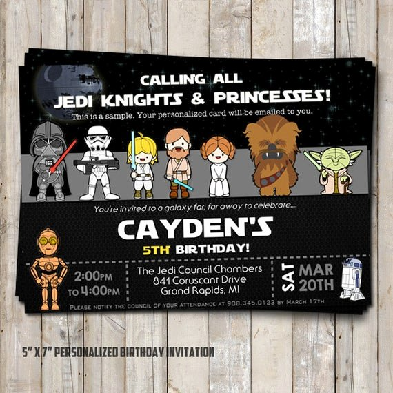 Star Wars Personalized Birthday Invitations Elegant Star Wars Birthday Invitation Personalized for Your Party