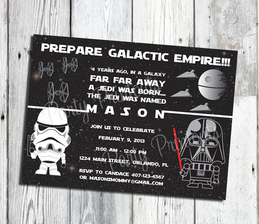 Star Wars Personalized Birthday Invitations Elegant Star Wars Inspired Invitation Star Wars Birthday Invitation