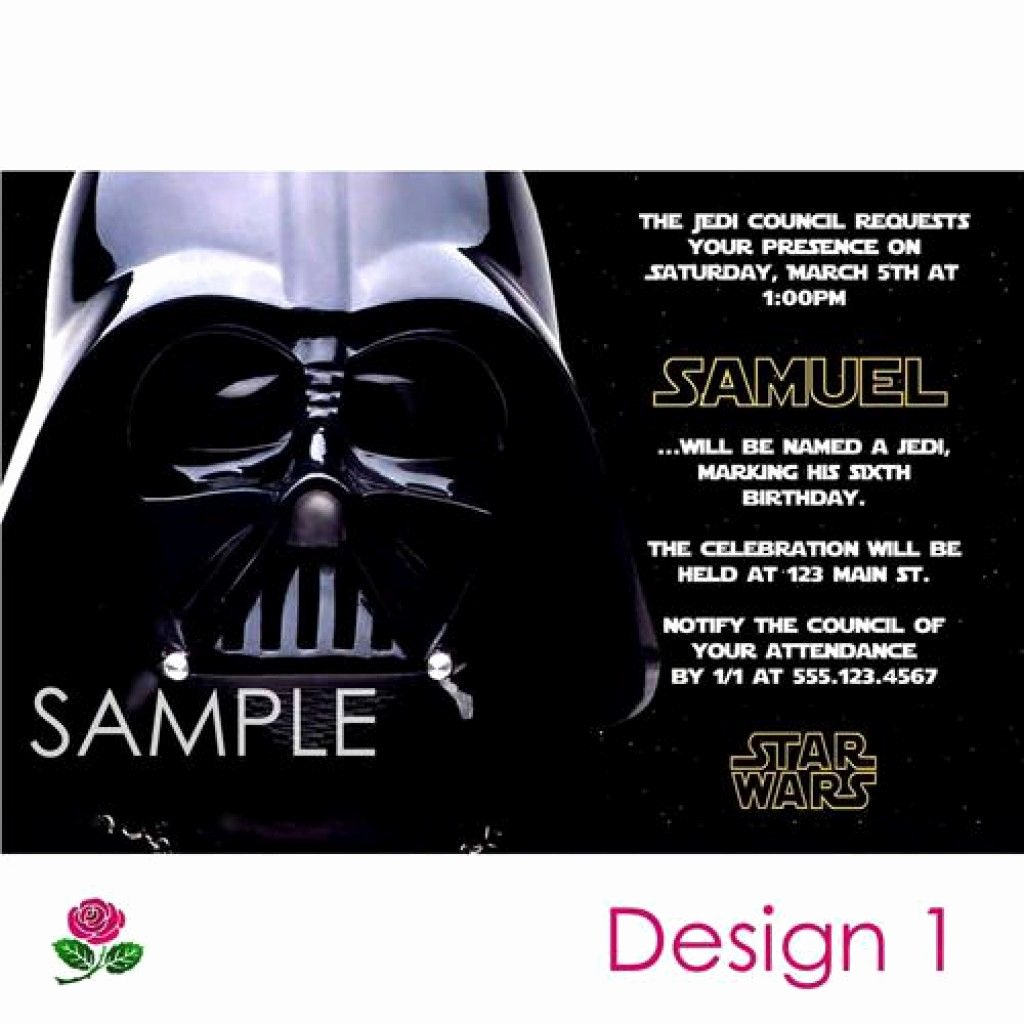 Star Wars Personalized Birthday Invitations Elegant Star Wars Party Invitations Free Printable 5