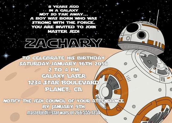 Star Wars Personalized Birthday Invitations Fresh Bb8 Star Wars Birthday Invitation Personalized by Catsmeowddesigns