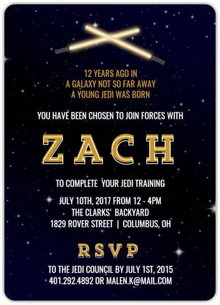 Star Wars Personalized Birthday Invitations Lovely Star Wars Birthday Invitation