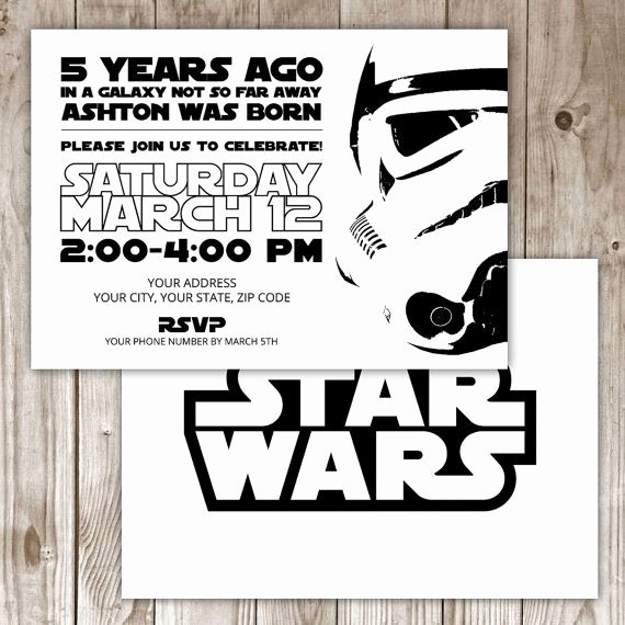 Star Wars Personalized Birthday Invitations Unique Digital File Star Wars Invitation