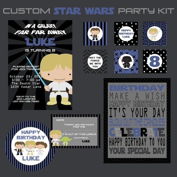 Star Wars Personalized Birthday Invitations Unique Star Wars Birthday Party Printable Kit Custom Birthday Invitations by Emmie Cakes
