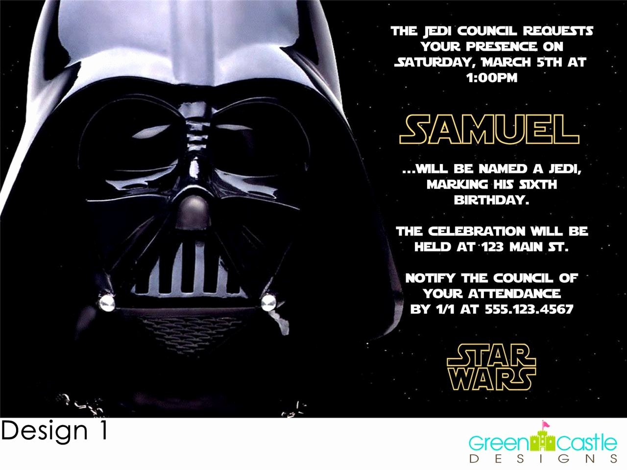 Stars Wars Birthday Invitations Awesome 20 Star Wars Invitations Darth Vader Custom Birthday Party Invites