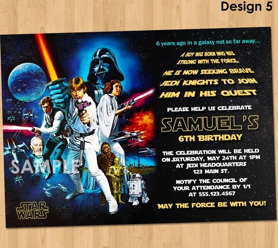 Stars Wars Birthday Invitations Inspirational Star Wars Birthday Invitation Star Wars Invitation Birthday