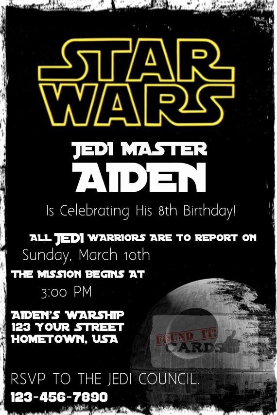 Stars Wars Birthday Invitations Inspirational Star Wars Birthday Party Invitation Fully by Founditcards On Etsy $10 00