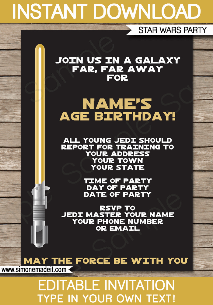 gold star wars invitations editable template