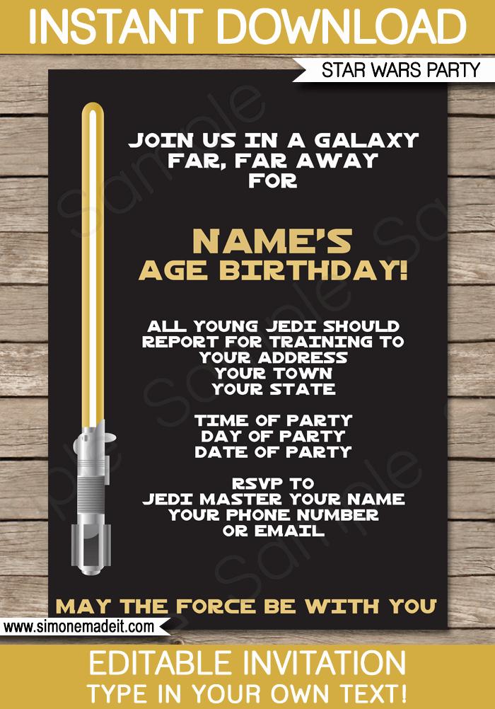 Stars Wars Birthday Invitations Luxury Gold Star Wars Invitations Editable Template