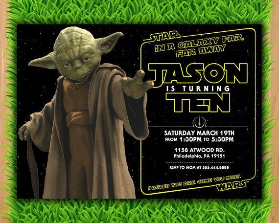 Stars Wars Birthday Invitations New Yoda Invitation Star Wars Invite A force Awakens