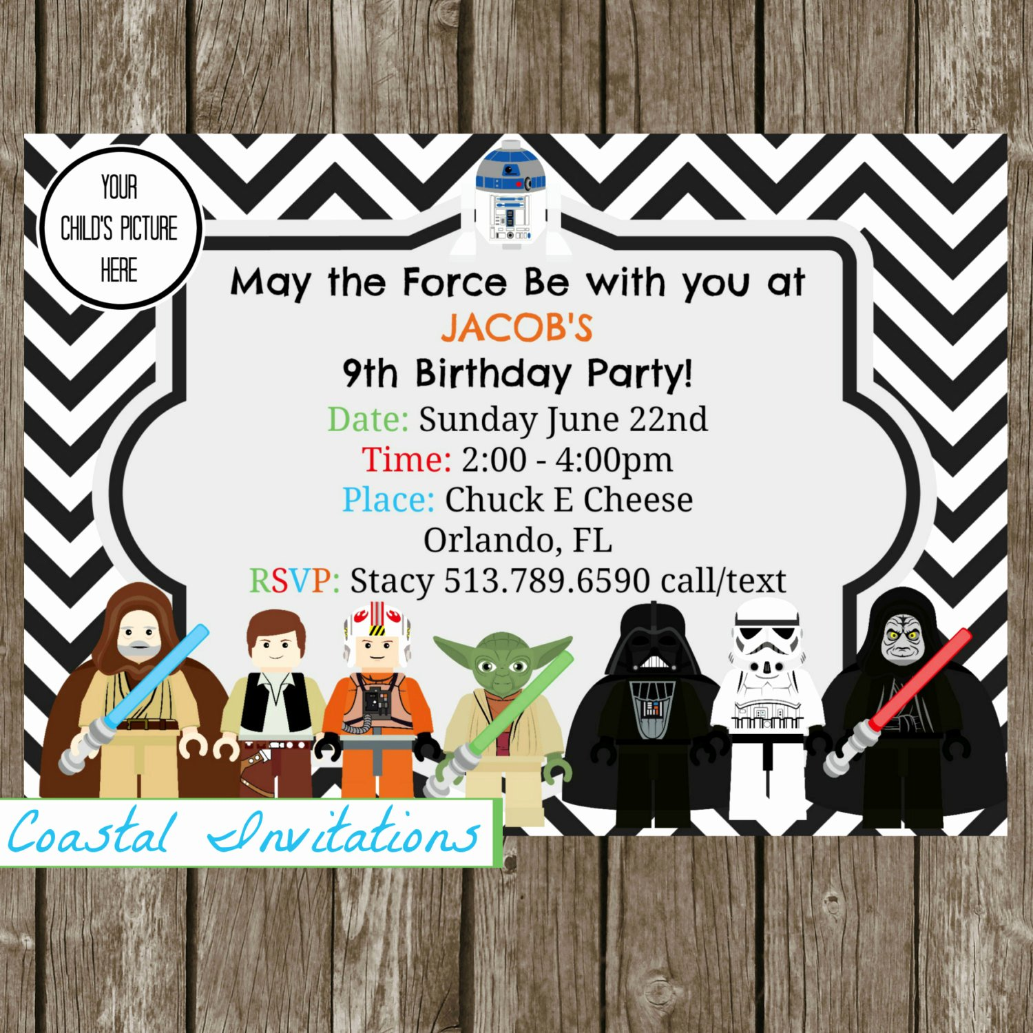 Stars Wars Birthday Invitations Unique Star Wars Birthday Invitation Star Wars by Coastalinvitations