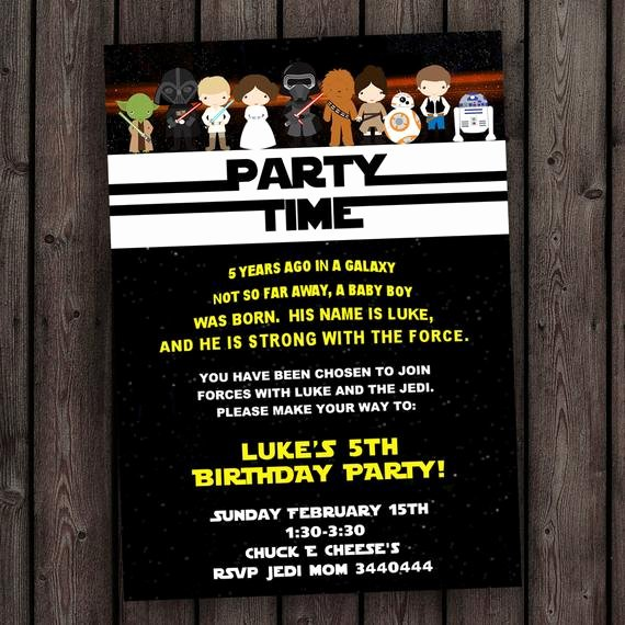 Stars Wars Birthday Invitations Unique Star Wars Invitation the force Awakens Invitation Star Wars