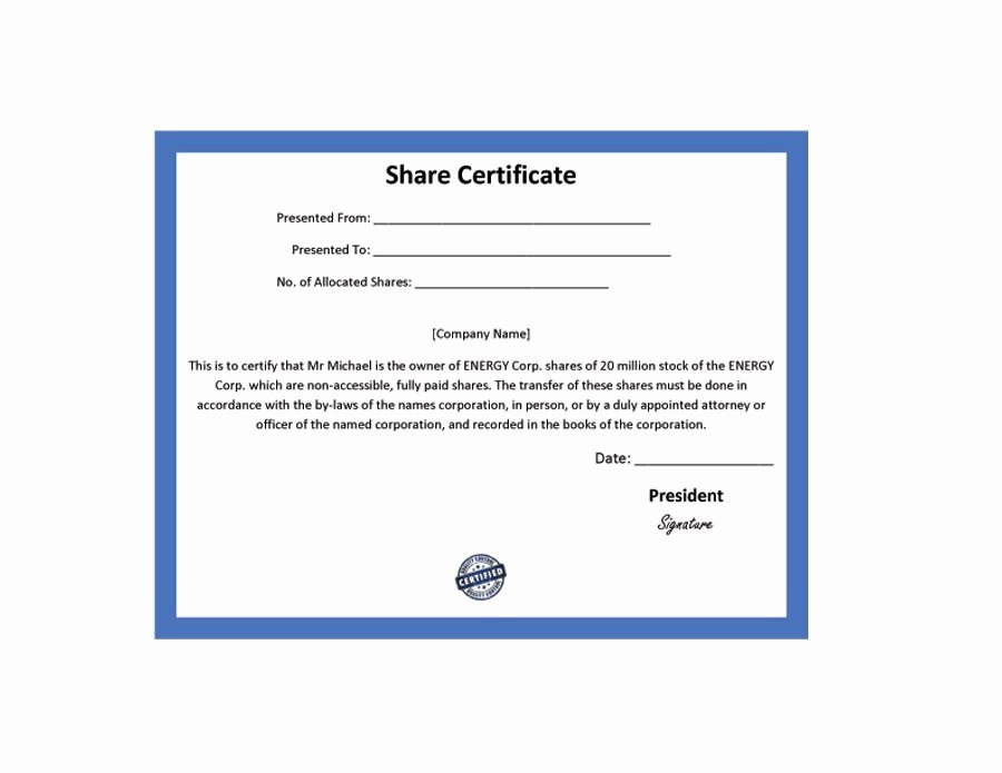 Stock Certificate Template Microsoft Word Best Of 40 Free Stock Certificate Templates Word Pdf
