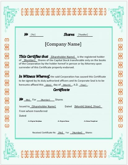Stock Certificate Template Microsoft Word New Stock Certificates 2018 Templates for Ms Word