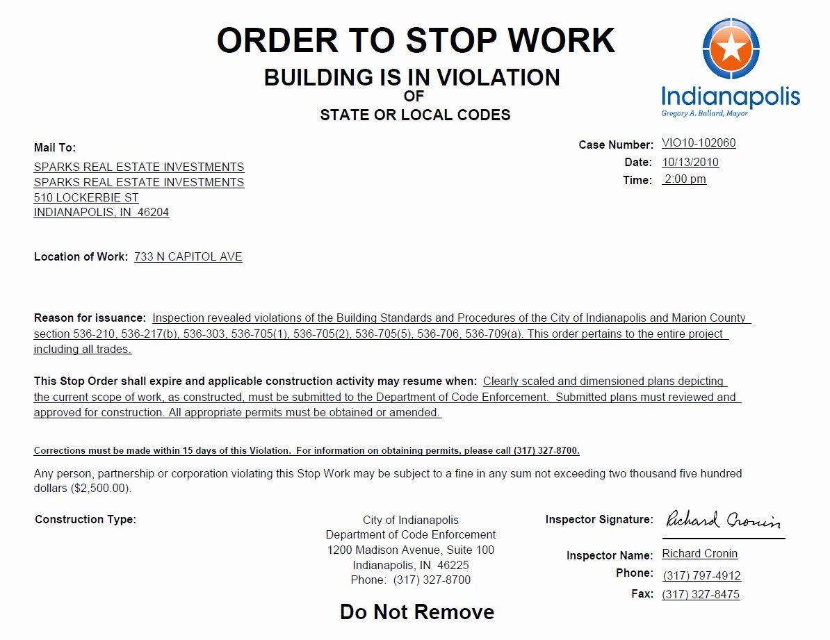 Stop Work order Template Awesome Stop Work order Posted at the Di Rimini
