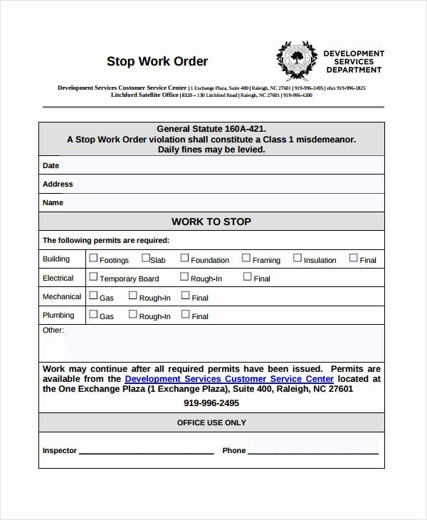 Stop Work order Template Luxury 10 Work order Templates Pdf Apple Pages