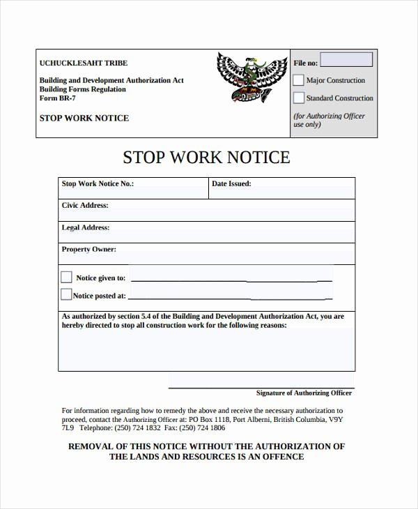 Stop Work order Template Luxury 30 Free Notice Templates
