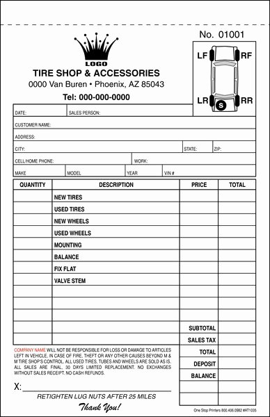 Stop Work order Template New Automotive Tire Repair order Invoice