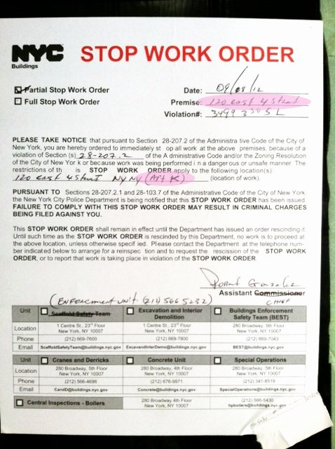 Stop Work order Template Unique Occupy East 4th Street Another Stop Work order