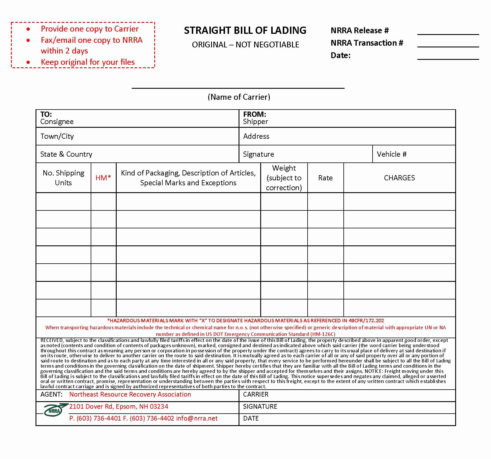 bill of lading template