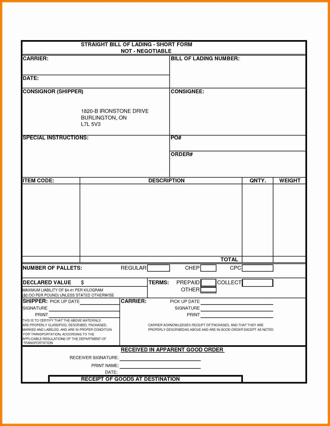Straight Bill Of Lading Template Beautiful 6 Printable Bill Of Lading Short form