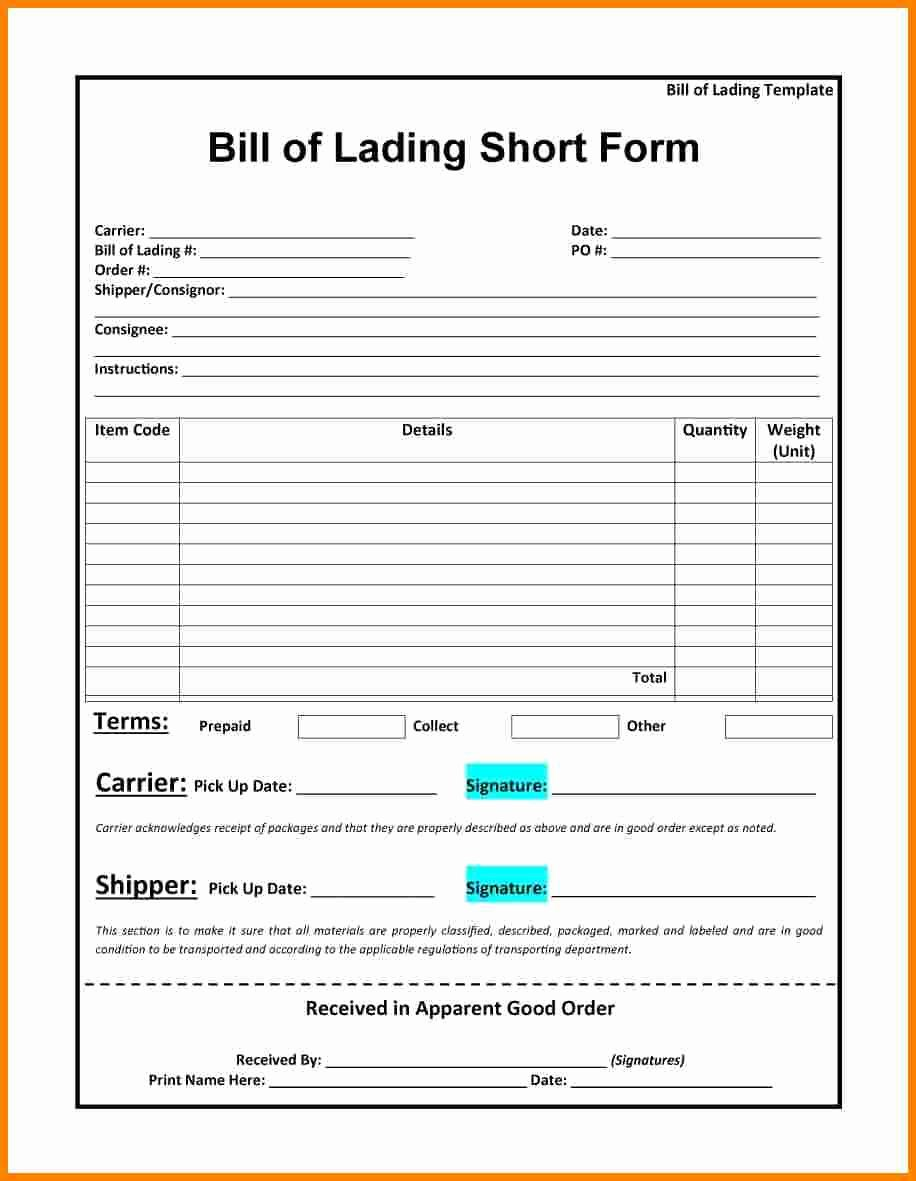 Straight Bill Of Lading Template Best Of 10 Bill Of Lading Templates