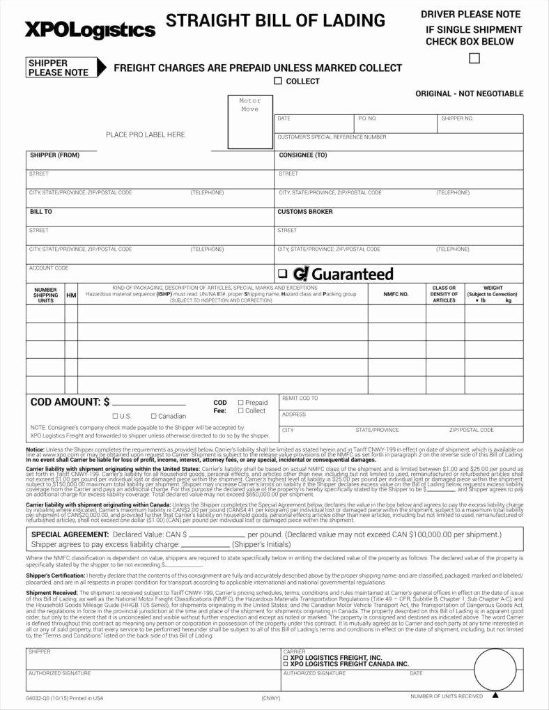 Straight Bill Of Lading Template Best Of Bill Of Lading forms Templates In Word and Pdf Excel