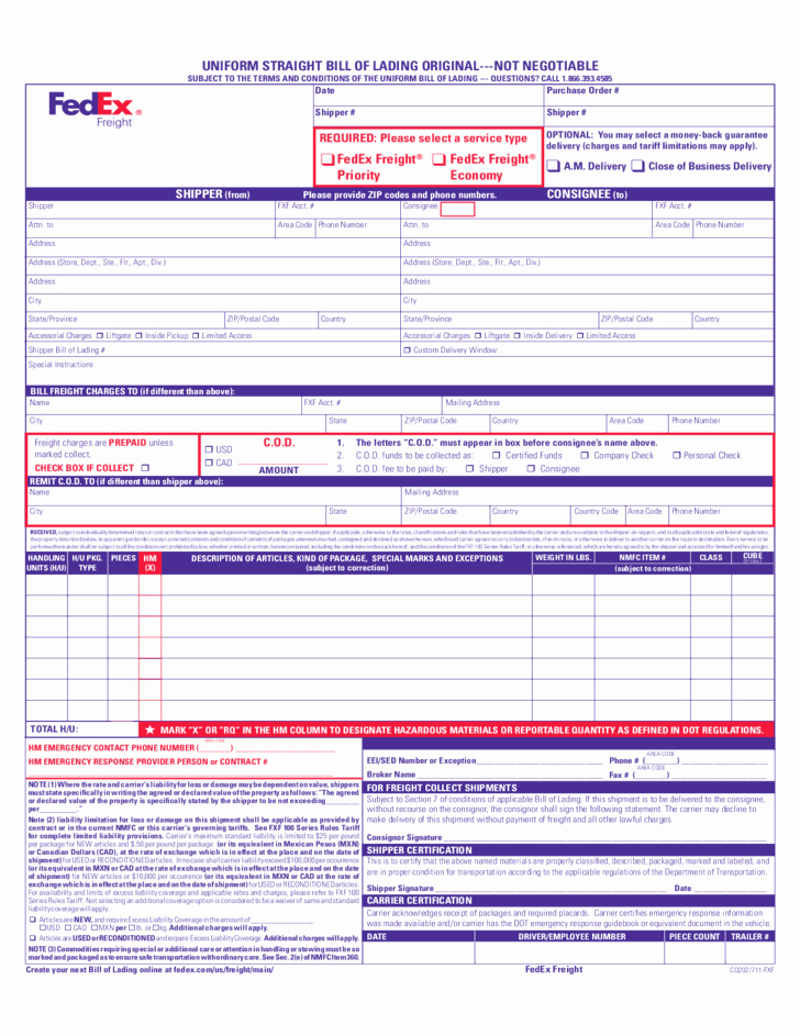 Straight Bill Of Lading Template Elegant Uniform Straight Bill Of Lading Free Download