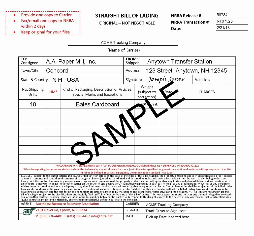 Straight Bill Of Lading Template Luxury Bills Of Lading Bols & Other forms