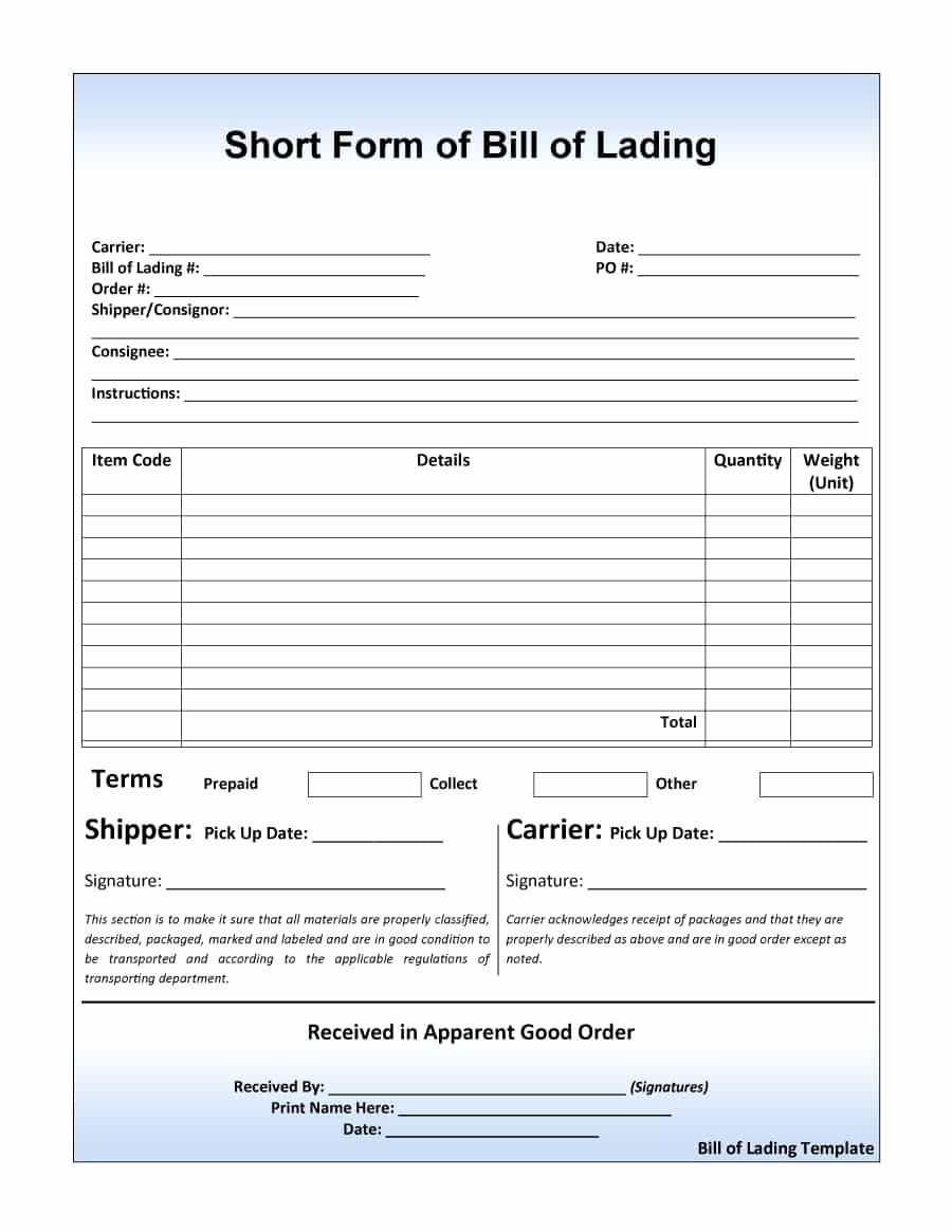 Straight Bill Of Lading Template Unique 40 Free Bill Of Lading forms & Templates Template Lab