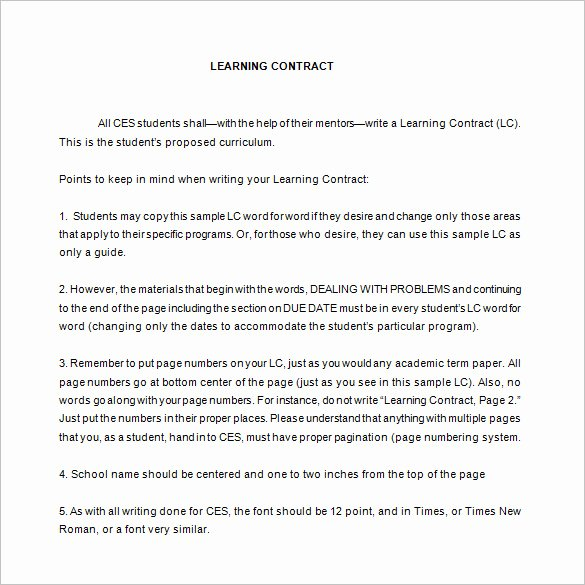 Student Academic Contract Template Awesome 7 Learning Contract Templates & Samples Pdf Google Docs Word