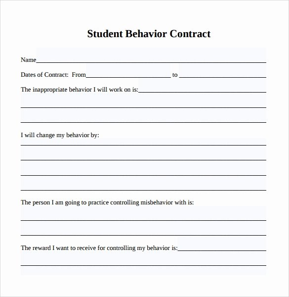 Student Academic Contract Template Elegant Free 14 Behaviour Contract Templates In Pdf