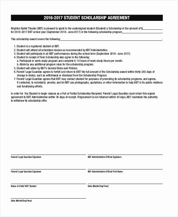 Student Academic Contract Template Fresh 7 Scholarship Contract Samples & Templates Pdf Doc