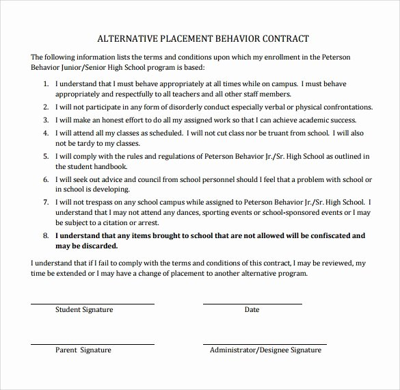 Student Academic Contract Template Lovely Free 14 Behaviour Contract Templates In Pdf
