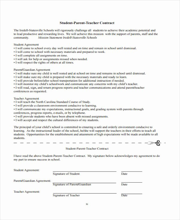 Student Academic Contract Template Luxury 10 Teacher Contract Templates Word Google Docs Apple Pages