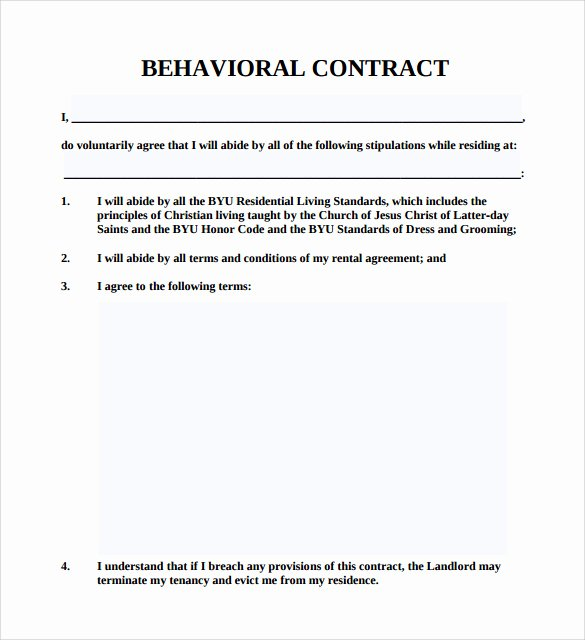 Student Academic Contract Template Luxury Behavior Contract Template