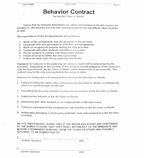 Student Academic Contract Template Unique 15 Best Of Worksheets Students Behavior Contract Worksheets Behavior Contracts School